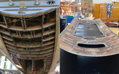Negli hangar di Napoli sostituzione skin inferiore fusoliera su Airbus A320